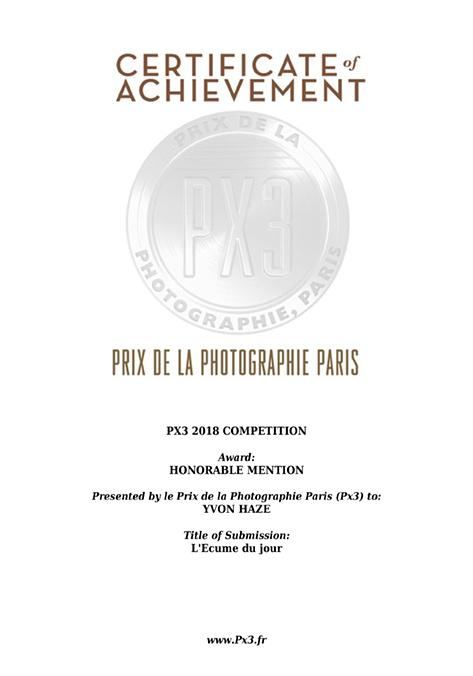 PX3 Honorable Mention pour L'Ecume du jour